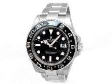 40mm Gents Rolex Stainless Steel Oyster Perpetual GMT-Master II Watch. Black Dial. Stainless Steel Bezel, black insert. Stainless Steel Oyster Band. Style 116710.