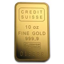 10 oz Credit Suisse Gold Bar .9999 Fine (With Assay)