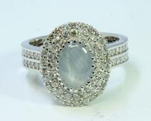 Natural Ceylon Star Sapphire 1.64 ct & Diamond 1.05 ct Ring 14Kt White Gold 6.64 gr