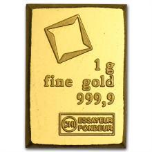 1 gram Valcambi Gold Bar (No Assay) .9999 Fine
