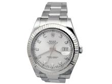 41MM Gents Rolex Stainless Steel Oyster Perpetual Datejust II. Silver 10 round diamond dial. 18k White Gold Fluted Bezel. Stainless Steel Oyster band. Style 116334.