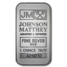 1 oz Johnson Matthey Silver Bar (New-JM Logo Reverse) .999 Fine