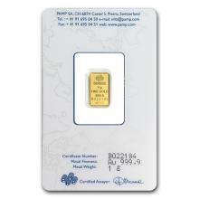 1 gram Pamp Suisse Gold Bar .9999 Fine (In Assay)