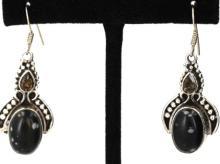 Sterling Silver .925 Vintage Black Gem Earrings