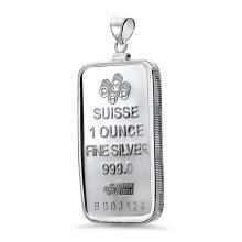1 oz Silver Bar - Pamp Suisse Pendant (Rosa)