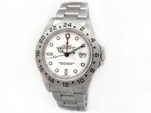 Gents Rolex Stainless Steel Oyster Perpetual Explorer II Watch. White Dial. Stainless Steel Fixed Bezel. Stainless Steel Oyster Band. Style 16570.