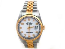 36mm Rolex 18k Gold & Stainless Steel Oyster Perpetual Datejust Watch. White Arabic Dial. 18k Yellow Gold Fluted Bezel. 18k Gold & Stainless Steel Jubilee Band. Style 16233.