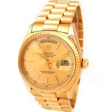 Gents Rolex 18K Yellow Gold Oyster Perpetual Daydate. Champagne Dial. 18K Fluted Bezel. 18K Yellow Gold President Band. Style 18038.#32839