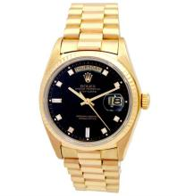 36mm Gents Rolex 18k Yellow Gold Oyster Perpetual Daydate Watch. Black 8+2 Diamond Dial. 18k Fluted Bezel. 18k Yellow Gold President Band. Style 18038.#32716