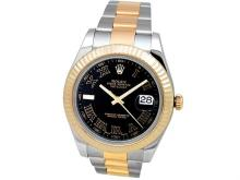 41mm Gents Rolex 18k Gold & Stainless Steel Oyster Perpetual Datejust II Watch. Black Roman Numeral Dial. 18k Yellow Gold Fluted Bezel. 18k Gold & Stainless Steel Oyster Band. Style 116333.