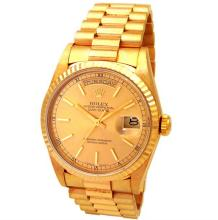 36mm Gents Rolex 18k Yellow Gold Oyster Perpetual Daydate Watch. Champagne Dial. 18k Yellow Gold Fluted Bezel. 18k Yellow Gold President Band. Style 18238.#32853