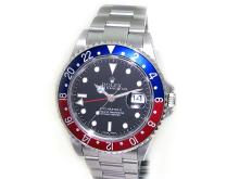 40mm Gents Rolex Stainless Steel Oyster Perpetual GMT-MASTER II Watch. Black Dial Stainless Steel Bezel, Black Insert Stainless Steel Oyster band. Style 16710.