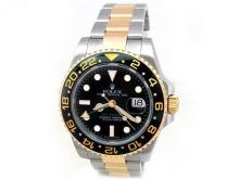40mm Gents Rolex 18k Gold & Stainless Steel Oyster Perpetual GMT-Master II Watch. Black Dial. Ceramic Black Bezel. 18k Gold & Stainless Steel Oyster Band. Style 116713.