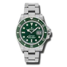 40mm Rolex Stainless Steel Oyster Perpetual Submariner Anniversary Watch. Green Dial. Green Ceramic Bezel. Stainless Steel Oyster Band. Style 116610LV