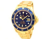 40mm Gents Rolex 18k Yellow Gold Oyster Perpetual Submariner Watch. Blue Dial. 18k Yellow Gold Bezel, blue insert. 18k Yellow Gold Oyster Band. Style 16618.