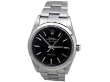 34MM Rolex Stainless Steel Oyster Perpetual Airking Watch. Black Dial. Stainless Steel Smooth Bezel. Stainless Steel Oyster Band. Style 14000.