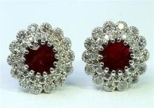 Natural Burma Ruby 3.41 ct & Diamond 0.84 ct Earring 18Kt White  Gold 7.71 gr