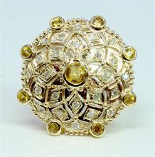 Yellow Sapphire 1.37 ct & Diamond 0.46 ct Ring 9.81 gr 14K Yellow Gold