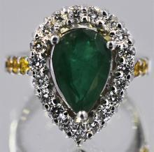 Emerald Yellow Sapphire  4.30 ctw Diamond Cocktail Ring 14KW