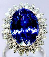 Tanzanite  13.15 ctw Diamond Cocktail Ring 14KW