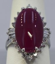 Ruby Cabochon   12.32 ctw Diamond Cocktail Ring14KW