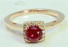 Ruby 1.25Ct / Diamond 0.13Ct / 14K Rose Gold Ring 3.26 Gram