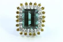 Natural Tourmaline 8.50ct  Yellow Sapphire 1.55ct  Diamond 0.89ct