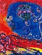 Marc Chagall Ltd Edition Couple with Red Background