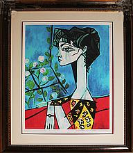 Pablo Picasso-Ltd Ed Lithograph-Jacqueline With Flowers