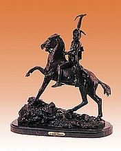 Frederic Remington Scalp Bronze Sculpture