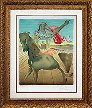 Salvador Dali Chevalier Surrealist Original Lithograph