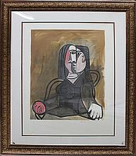 Pablo Picasso-Seated Lady Hand Signed by Marina Picasso