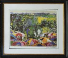 LeRoy Neiman Lithograph Arnie in the Rain Golf