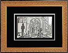 Pablo Picasso-1955 original ink drawing Artist Studio