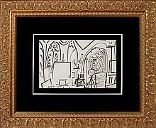 Pablo Picasso 1955 original ink drawing The Artist Studio