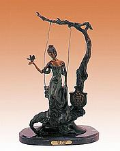 Louis Icart-Bronze Sculpture-The Swing