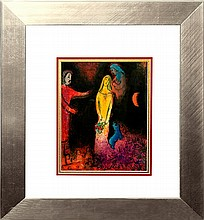 Marc Chagall Hand signed Lithograph Daphne and Chloe