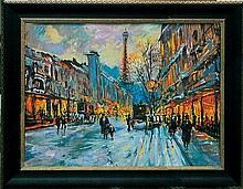 Michael Schofield-Original Mixed Media-Glowing Paris