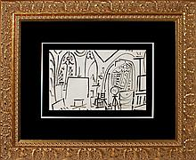 Pablo Picasso 1955 original ink drawing Interiors