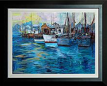 Michael Schofield Original Oil Busy Harbor
