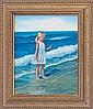 Rafael -Original Oil Hand Signed Girl at the Seashore
