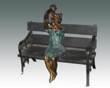 Lady Holding Child Bronze Sculpture by Nardini