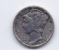 1935 10 Cent Silver Mercury Dime
