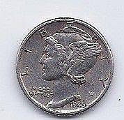 1945 10 Cent Silver Mercury Dime