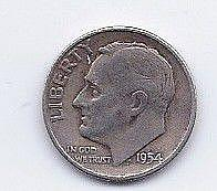 1954 10 Cent Silver Roosevelt Dime