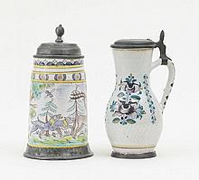 Walzenkrug mit Hirsch und Brinkrug mit Blumendekor