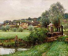 MUENIER, JULES ALEXIS - 1863 Vesoul - 1942 Coulevon  Fishermen on the Village Outskrits.