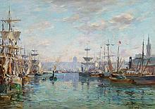 PETITJEAN, EDMOND MARIE - 1844 Neufchateau - 1925 Paris  Harbour of Rouen.