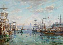 PETITJEAN, EDMOND MARIE - 1844 Neufchateau - 1925 Paris - Harbour of Rouen.