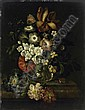 Still life with a bouquet of flowers and insects on a marble top., Rachel Ruysch, Click for value